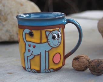Ceramic cat mug, Pet accessories, Cat mug pottery, Cat lover gift, Coffee mug pottery, Cat mug, Coffee cat mug, Handmade mug, Pottery mug