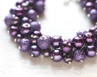 Dark Purple Wedding Bridesmaid Jewelry Pearl Cluster Bracelet - Amethyst, For Purple Theme Weddings