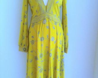 "70s EMILIO PUCCI Yellow Print Silk Jersey Dress  Chest -37"""