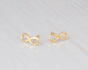 Infinity Earrings, Small Gold Earrings, Tiny Gold Stud Earrings, Infinity Stud Earrings, Dainty Gold Earrings, Delicate Studs, Tiny Earrings