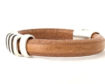 Mens Bracelet Leather - Leather Bracelet - Mens Bracelet Silver - Mens Jewelry -Simple Leather Bangle - Gift For Man