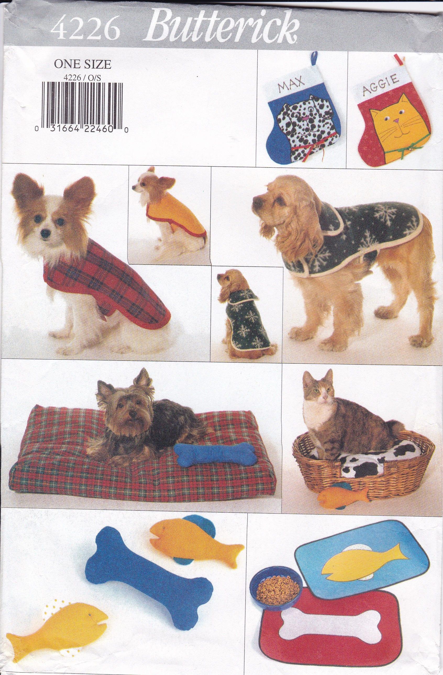 FREE US SHIP Sewing Pattern Butterick 4226 Crafts Animal Pet Dog Cat ...