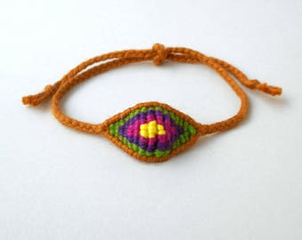 Brown eye, Mens evil eye, Cotton evil eye, Yarn bracelet, Embroidery floss, Talisman, Amulet protection, Friendship gift, Boyfriend gift