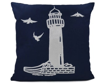 "New Fabric - Lighthouse - Nautical Embroidered Pillow Cover - Fits 18""x18"" Insert - Navy - Beach / Lake / Nursery Decor (READY TO SHIP)"