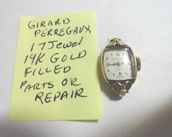 Vintage 1950s Ladys Girard Perregaux 14K Gold Filled Wrist Watch For Parts or Repair 15mm by 25mm