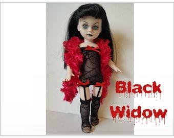 Living Dead Doll Clothes - BLACK WIDOW Goth Lingerie Boa Teddy Garter-Hose - Handmade Custom Fashion by dolls4emma