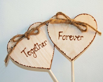 Together Forever Wedding Cake Toppers Wooden Heart Toppers Personalised