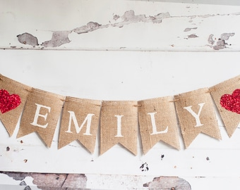 Personalized Burlap Banner, Name Banner, Personalized Name Banner, Nursery Decor, Personalized Heart Banner, Red Hearts Name Banner, B165