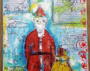 Mixed media bird,Teal blue art,Red birds art,Gift for her,Decor for girls room,Inspirational quote art,Whimsical art