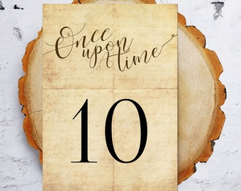 Table Numbers / Once Upon A Time / Fairytale Wedding Table Numbers / 1-20  / Vintage/ Rustic / Instant Download
