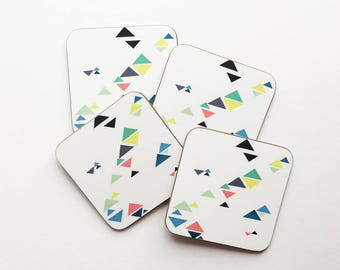 Set of Four Modern Geometric Pattern Coasters With Rounded Corners - Triangles