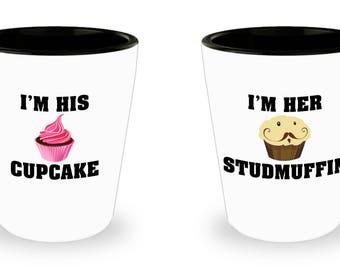Couple Shotglass ,Romantic Matching Gift Set, Im His Cupcake I'm Her Studmuffin , For Boyfriend Girlfriend Husband Wife, Couples Fiancee