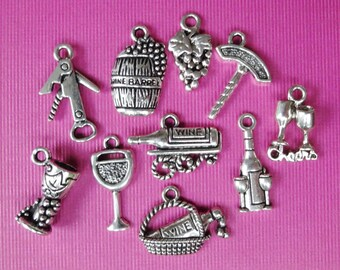 10, Assorted, Wine, Glass, Goblet, Basket, Cork Pull, Opener, Theme Charms ITEM:AG16