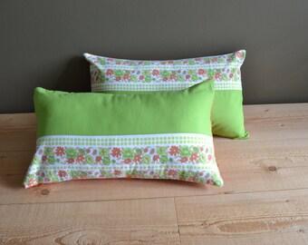 green and orange flower power lumbar pillow cover - fun floral orange green pillow cover - set of 2x - bright mod patchwork lumbar pillow