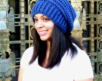 Crochet Slouchy Hat, Tam Hat, Blue Hat, Ribbed, Beehive Hat, Color is Colonial Blue,