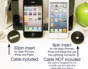 Inserts for iPhone 3, 4 and 5. Works with iPad, iPod and Nano too.