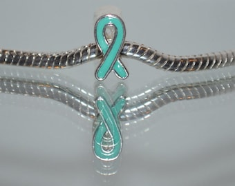 Teal Ribbon Charm-Bead Ovarian Cancer-Anti Bullying