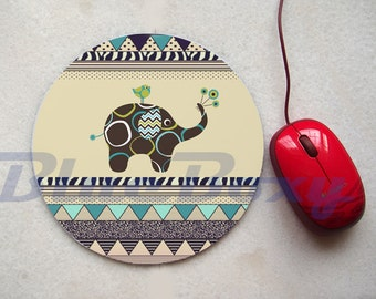 Cute Elephant Aztec Mouse pad, Office Mousepad, Computer Mouse Pad