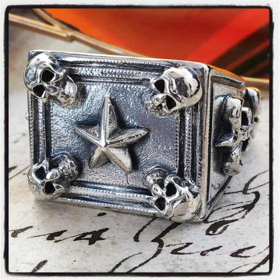 Etherial Jewelry - Rock Chic Talisman Luxury Biker Custom Handmade Artisan Pure Sterling Silver .925 Luxury Skulls & Fleur De Lis Biker Ring