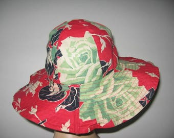 1930's Tropical Print Cotton Wide Brimmed Beach Hat!
