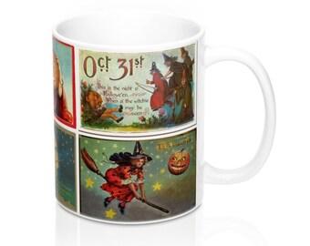Vintage Halloween Witch Postcards Graphic Coffee Mug 11 or 15 oz (#3)