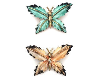 Set of 2 Vintage Enamel Butterfly Pins in Mint Green and Peach with Black Wing Tips