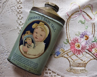 Gorgeous, Unusual Vintage Colgate's Baby Talc Tin, Brass Top