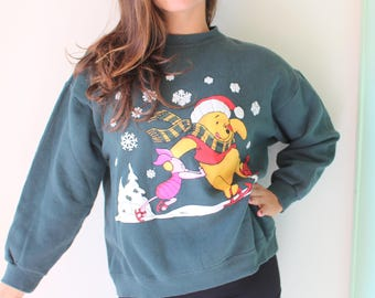 Vintage WINNIE THE POOH Sweater..size medium..kitsch. retro. campy. cartoon. honey. bear. windy. leaves. pooh. large. disney. sweatshirt
