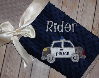 Police Car - Personalized Minky Baby Blanket - Navy Blue  / Gray Minky - Embroidered Police Car