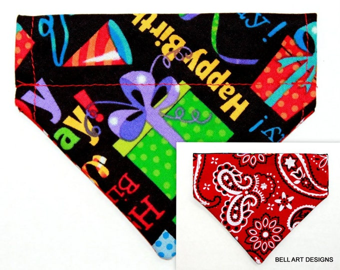 HAPPY BIRTHDAY ~ Over the Collar ~ Reversible ~ Dog Pet Bandana ~ Bell Art Designs ~ Extra Extra Small DCXXS210