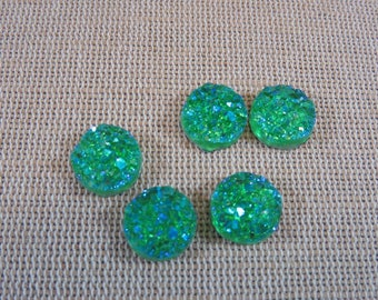 10pcs Cabochons Druzy cabochons in resin, green cabochons, cabochons 12mm, set of 10 rhinestone paste cabochons, jewelry