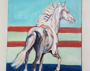 White Horse Art, oil horse painting, Spotted Saddle Horse, Tennessee Walker, Gaited Horse, horse wall decor, equestrian art, horse running