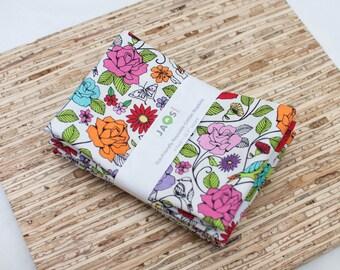 Large Cloth Napkins - Set of 4 - (N3322) - Colorful Rose Floral Modern Reusable Fabric Napkins
