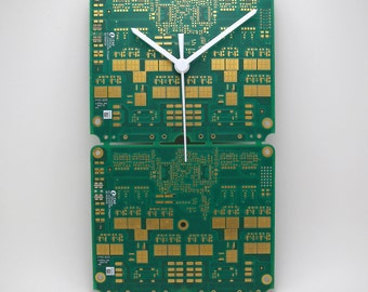 Clock printed circuit board green and Gold (PCB printed circuit boards, Computeric Geek, Steampunk Technology)