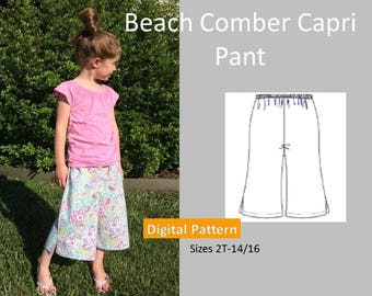 Girls Capri Pant Sewing Pattern - Sizes 2T, 3T, 4T, 6, 8, 10, 12, 14, 16 - Wide Leg, Elastic Waistband, Downloadable PDF Sewing Pattern