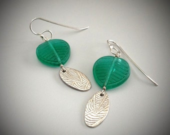 Frosted Green Leaf Dangle Earrings with Silver