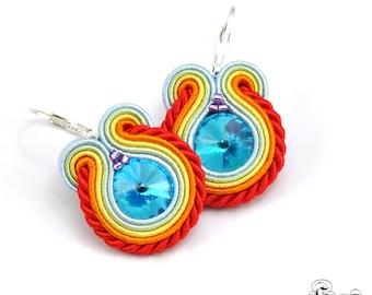 Colorful Soutache Earrings, Small Dangle Earrings, Dangle Soutache Earrings, Colorful Earrings, Colorful Small Earrings, Soutache Earrings