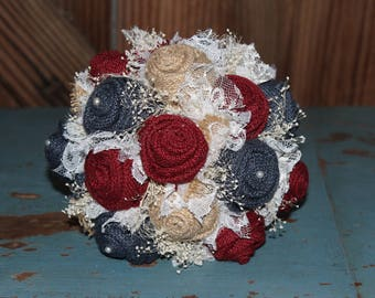 Maroon and Navy Burlap and Lace Bouquet, rustic wedding, bride's bouquet, rustic romance, burlap bouquet, navy wedding, keepsake bouquet