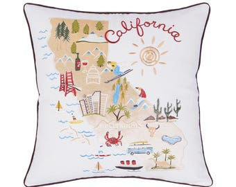 Pillow embroidered California,Decorative gift for Living room,Thanksgiving,Christmas,Standard cushion for Long distance relationship
