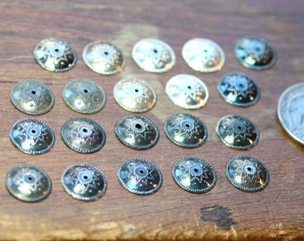Silver Bead Caps Large Bead Caps Patterned 12mm Antiqued and Bright Silver