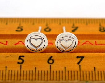 Tiny round heart stamped  Sterling Silver Post Earrings