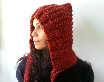 Cinnamon Rust Pixie Hat. Chunky Handknit. Hoodie. Cozy and Warm. Choose your Color.
