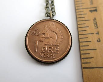 NORWAY Coin Pendant Necklace - Vintage Norge Squirrel Coin, Repurposed