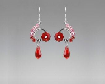 Swarovski Crystal Earrings, Industrial Jewelry, Red Crystal Earrings, Pink Crystal earrings, Space Jewelry, Bride Earrings, Bellatrix II v3