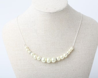 Ivory pearl necklace, Ivory wedding necklace, pearl and rhinestone necklace, Ivory Bridesmaid pearl necklace, ivory wedding jewelry