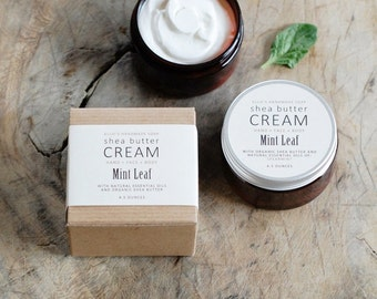 MINT LEAF Shea Butter Cream - with pure essential oils + organic shea butter - paraben free - 4.5 ounces