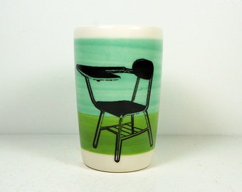 itty bitty cylinder / vase / cup with a school desk print on blue green/leaf green colorblock READY TO SHIP