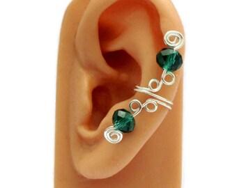Ear Cuff Small Silver Emerald Green