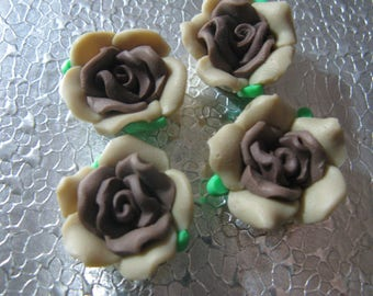 Coco Brown  Rose Flower Beads  ( 6 ) 20mm Fimo Polymer Clay Flower Beads