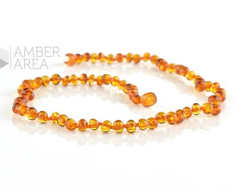 Baltic Amber necklace, Cognac Amber Color, Baroque Amber Beads, 44 m, 7974